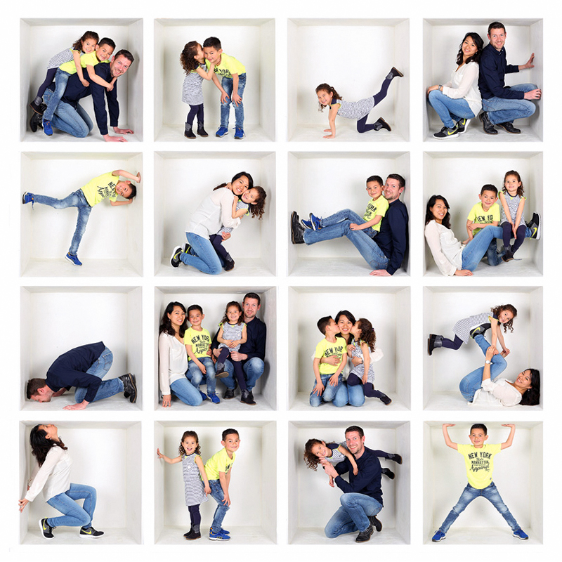 spontane gezinsfotografie, boxfoto, plezier, originele fotoshoot